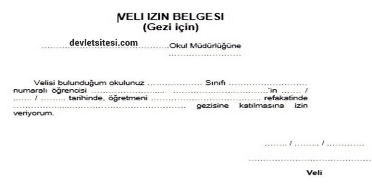 gezi için veli izin kağıdı örneği