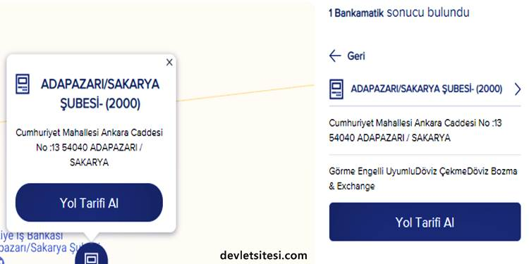 Türkiye İş Bankası Döviz Bozan ATM ve Şubeler Listesi